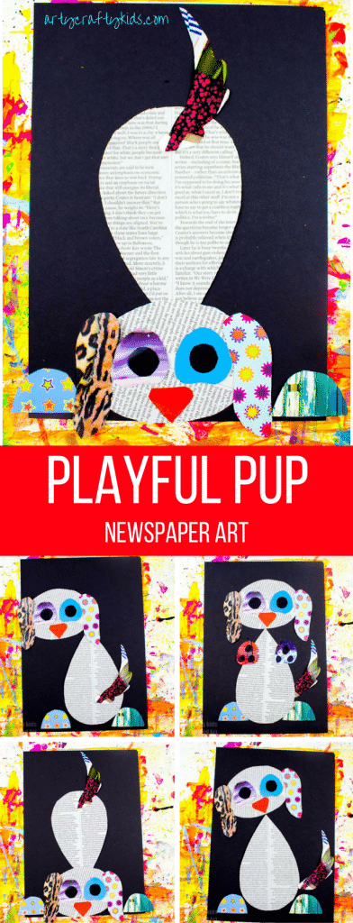 Arty Crafty Kids | Art | Playful Pup Newspaper Art | A fun dog craft for kids using recycled materials, including newspaper and magazines. With a free template included, this is a must activity for any paw patrol fans who fancy creating their own playful pup!
