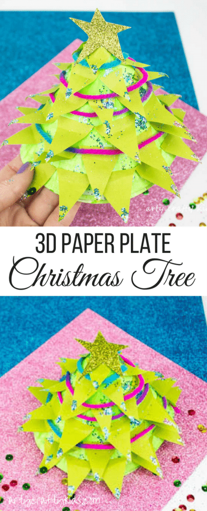 Arty Crafty Kids | Christmas Crafts for Kids | Design your own 3D Paper Plate Christmas Tree #christmascraft #kidscraft #christmastreecraft