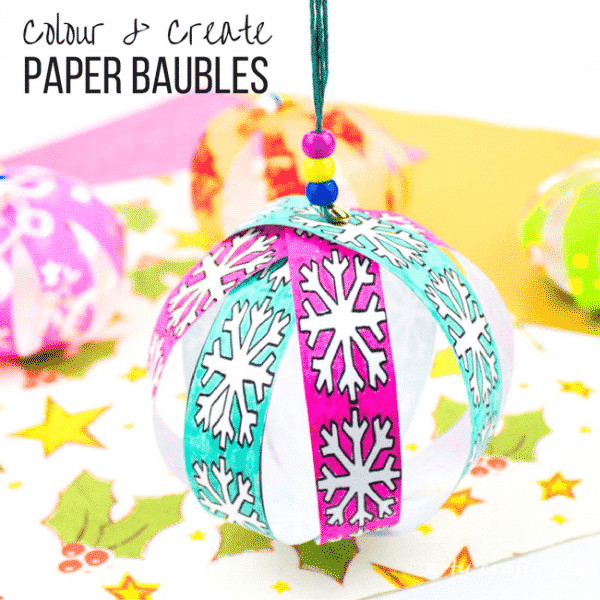 Arty Crafty Kids | Christmas Craft for Kids | Colour and Create Christmas Paper Baubles #christmasornament #christmascraft #christmasbauble #papercraft