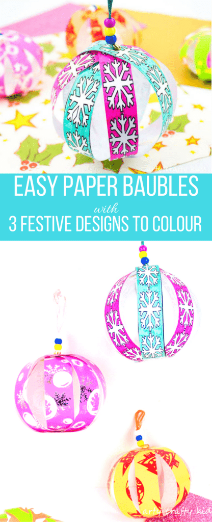 Arty Crafty Kids | Christmas Crafts for Kids | Colour and Create Christmas Paper Bauble #christmasornament #christmascraft #christmasbauble #papercraft