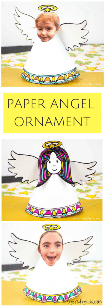 Arty Crafty Kids | Christmas Crafts for Kids | Adorable Paper Angel Christmas Ornmant for Kids, includes a free template for kids to design, colour and cut! #christmascraft #papercraft #christmascraftsforkids #christmasornament #freedownload