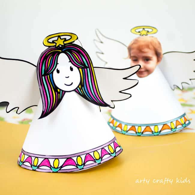 Arty Crafty Kids | Christmas Crafts for Kids | Adorable Paper Angel Christmas Ornament for Kids, includes a free template for kids to design, colour and cut! #christmascraft #papercraft #christmascraftsforkids #christmasornament #freedownload