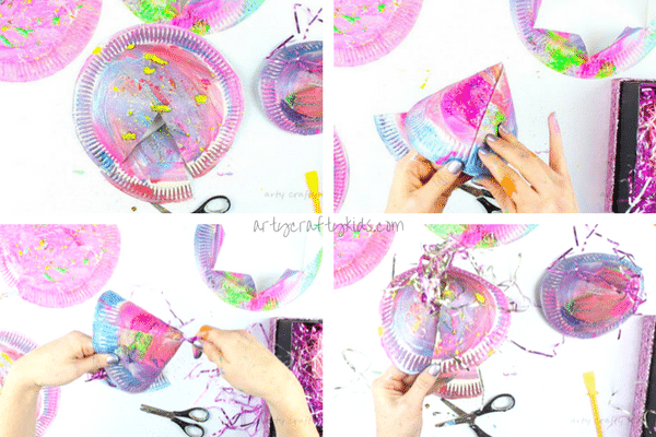 Arty Crafty Kids | Easy Paper Plate Party Hats | A fabulous Christmas or New Years Eve party Craft for kids using paper plates! Learn how to transform a paper plates into party hats using our two designs!