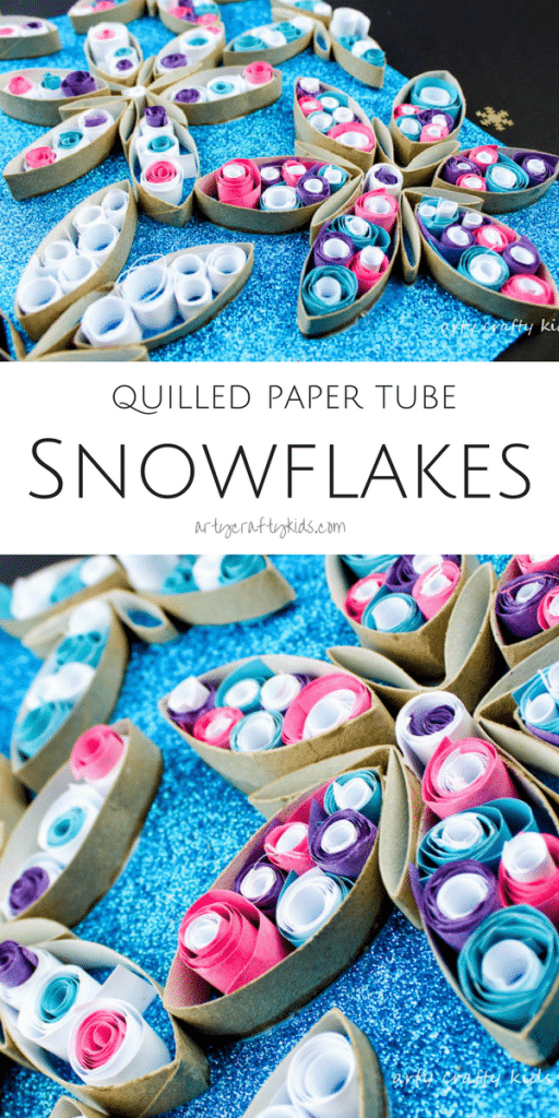 Arty Crafty Kids | Christmas Crafts for Kids | Quilled Paper Tube Snowflake Craft | A beautiful 3D Winter Art Project for Kids using paper tubes and basic quilling techniques to create stunning snowflakes! #snowflakes #christmascrafts #kidsart #christmascraftforkids