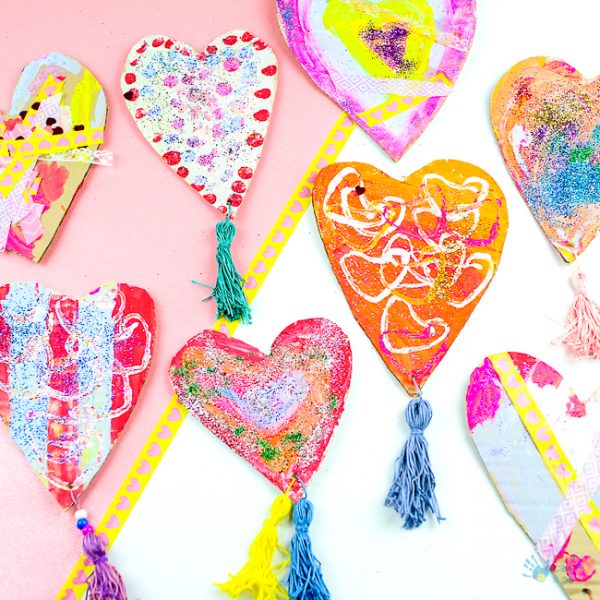 Recycled Cardboard Heart Decorations