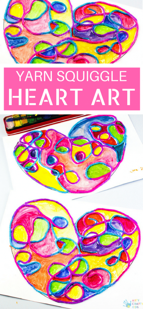 Arty Crafty Kids Art Ideas For Kids Yarn Squiggle Heart Art A Fun