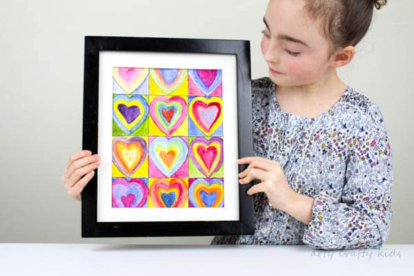 Arty Crafty Kids | Art for Kids | Kandinsky Inspired Heart Art | Once complete these beautiful Kadinsky inspired heart art projects can be framed