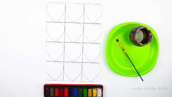 Arty Crafty Kids | Art for Kids | Kandinsky Inspired Heart Art | The Arty Crafty Kids Kadinsky heart template blank ready for paining
