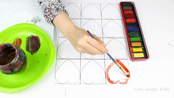 Arty Crafty Kids | Art for Kids | Kandinsky Inspired Heart Art | Begin paining the Ary Crafty Kids Kadinsky heart template