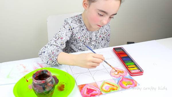 Arty Crafty Kids | Art for Kids | Kandinsky Inspired Heart Art | Each heart section of the template is used to with contrasting colours in each