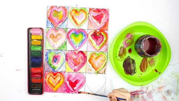Arty Crafty Kids   Art for Kids   Kandinsky Inspired Heart Art   Each heart is nearly complete as well as the surrounding areas of the hearts