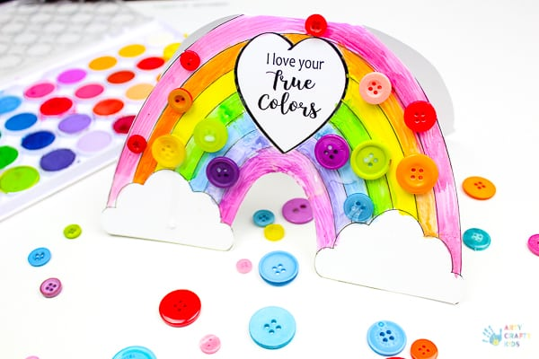 Arty Crafty Kids   Craft   Printable Rainbow 'I Love Your True Colours' Card - A beautiful printable greetings card for kids to colour. Perfect for Mother's Day, Valentine's Day, Birthday's or just because days #kidscards #kidscrafts #printable #rainbowcrafts #kidscrafts