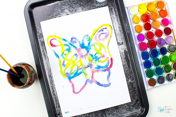 Arty Crafty Kids | Art | Butterfly Salt Painting - a magical and unusual art process for kids, that's great for exploring colour #artycraftykids #artforkids #kidsart #processart #butterflycrafts #craftsforkids #kidscrafts