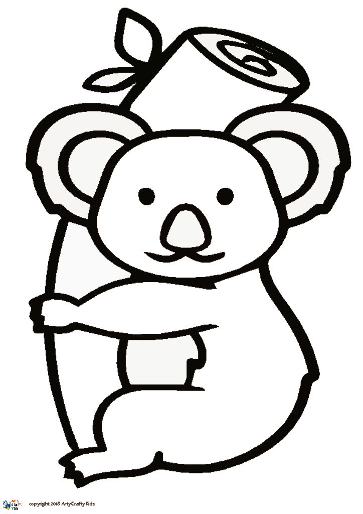 Line Drawing Koala : Koala outline arty crafty kids