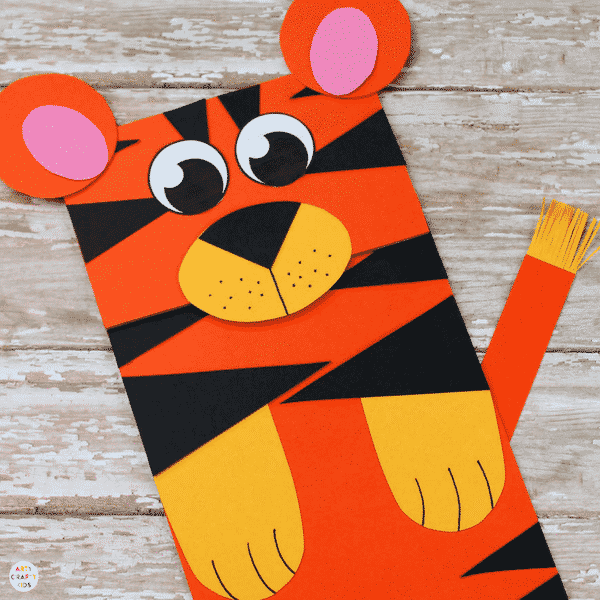 Paper Bag Tiger Puppet Arty Crafty Kids