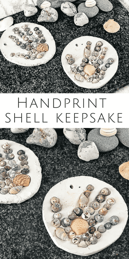Arty Crafty Kids | Craft | Handprint Shell Keepsake Summer Craft for Kids #summercraft #kidscraft #handprintcraft #craftsforkids #summercraftsforkids #beachcraftsforkids #beachcrafts