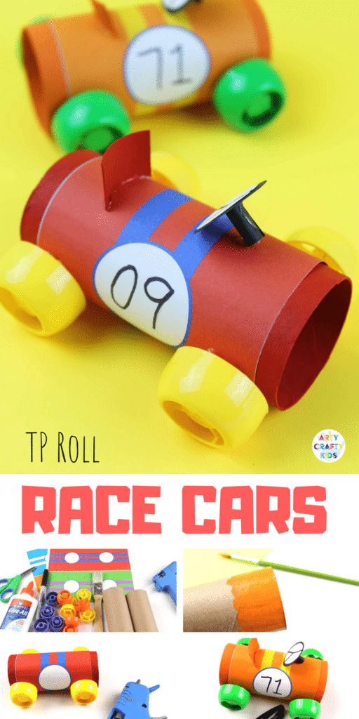 Paper Tube Racing Cars - Craft Ideas for Kids - A cool car craft for kids using the humble toilet tube! #kidscraft