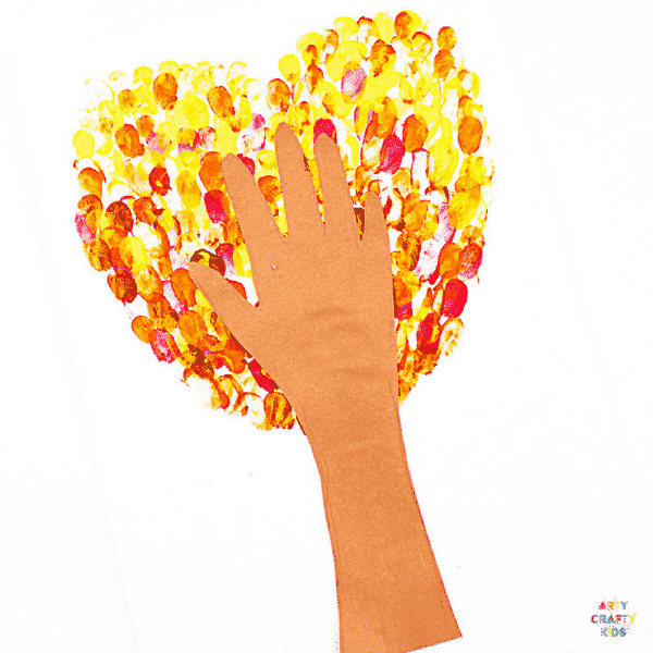Arty Crafty Kids | Craft Ideas for Kids | Fingerprint Heart Autumn Tree Craft for Kids, with a template included #autumncrafts #autumntree #craftideasforkids #kidscrafts