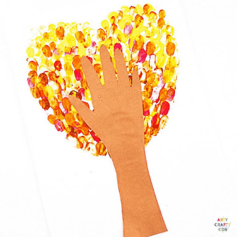Arty Crafty Kids   Craft Ideas for Kids   Fingerprint Heart Autumn Tree Craft for Kids, with a template included #autumncrafts #autumntree #craftideasforkids #kidscrafts