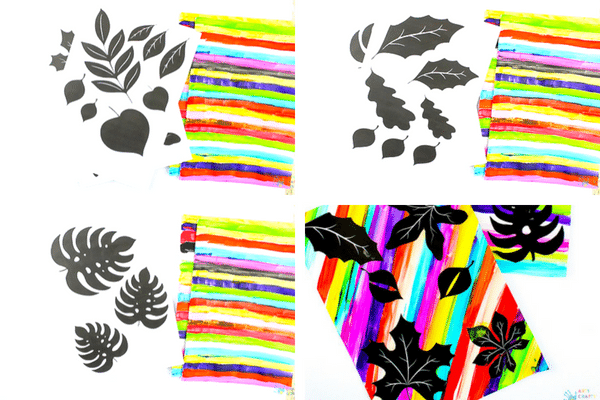 Arty Crafty Kids | Art for Kids | Rainbow Silhouette Leaf Art for Kids, with 4 downloadable templates available #kidsart #leafart #autumncraft #printable