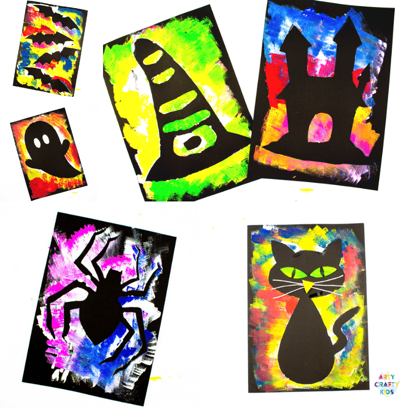 Arty Crafty Kids | Silhouette Halloween Art for Kids. Choose from a selection of Halloween Template to create brightly coloured works of art! #kidsart #kidscraft #halloweenartforkids #halloween #halloweencrafts