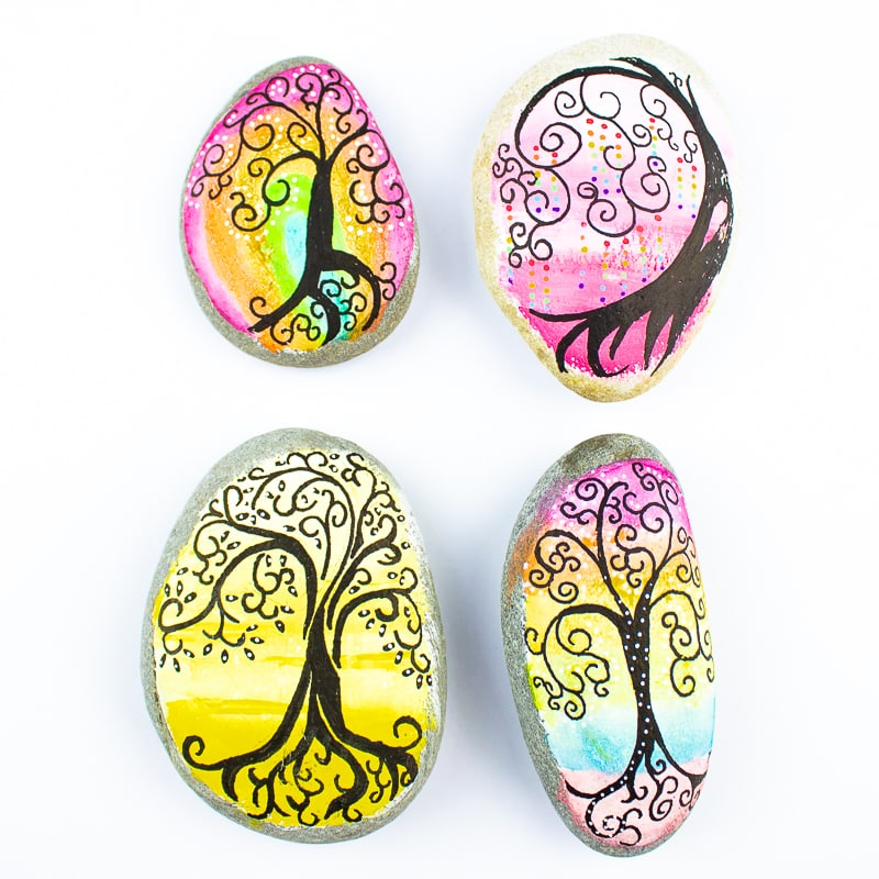 Arty Crafty Kids - Tree of Life Inspired Rock Art - Rock Painting Ideas for Kids #rockpainting #rockart #kidsart #easyartforkids