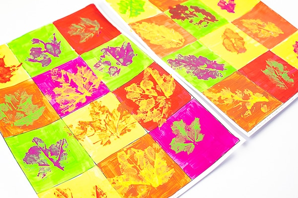 Arty Crafty Kids - Autumn Leaf Pop Art project for kids, with a free template included! #autumncraft #kidsart #artforkids #kidsactivities #craftsforkids
