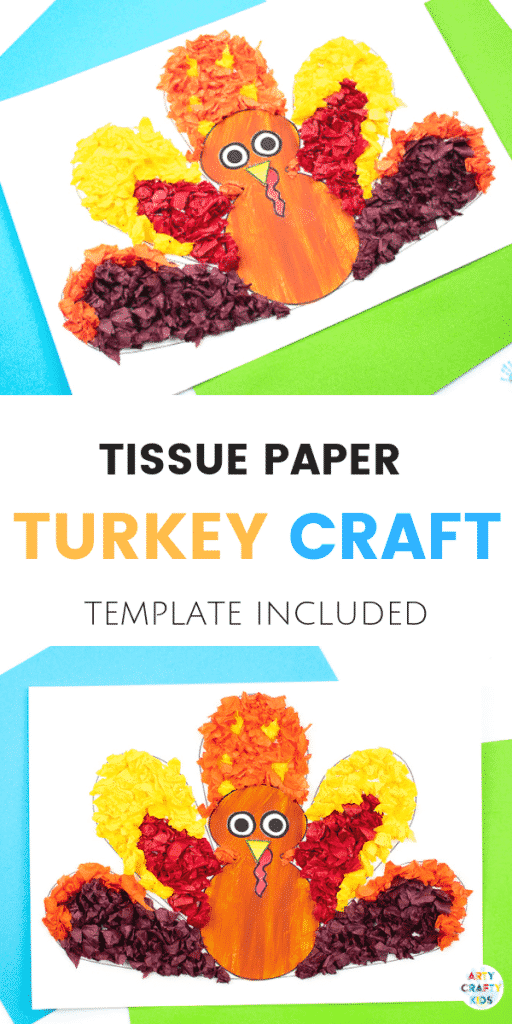 Arty Crafty Kids - Tissue Paper Turkey Craft for Kids - A fun and simple Thanksgiving craft for kids with a free template included!