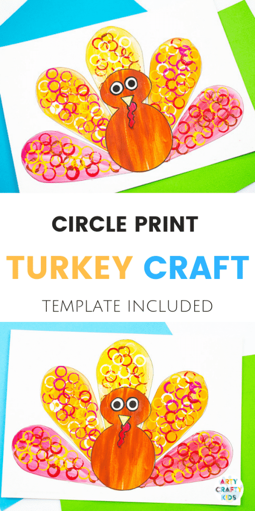 Arty Crafty Kids - Circle Print Turkey Craft for Kids - A fun and simple Thanksgiving craft for kids with a free template included!