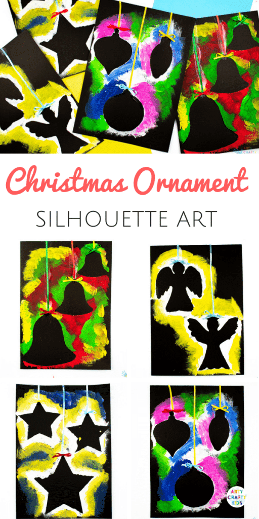 Arty Crafty Kids - Christmas Ornament Art for Kids. A fun and easy Christmas activity for kids, that plays with negative space to create gorgeous Christmas Ornament Silhouettes. #christmas #christmascrafts #kidscrafts