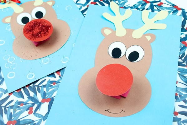 Arty Crafty Kids | Jingle Bells Rudolph Reindeer Craft - Explore and play with round shapes to create a Rudolph the Red Nosed Reindeer #kidscrafts #rudolph #christmascrafts #christmas