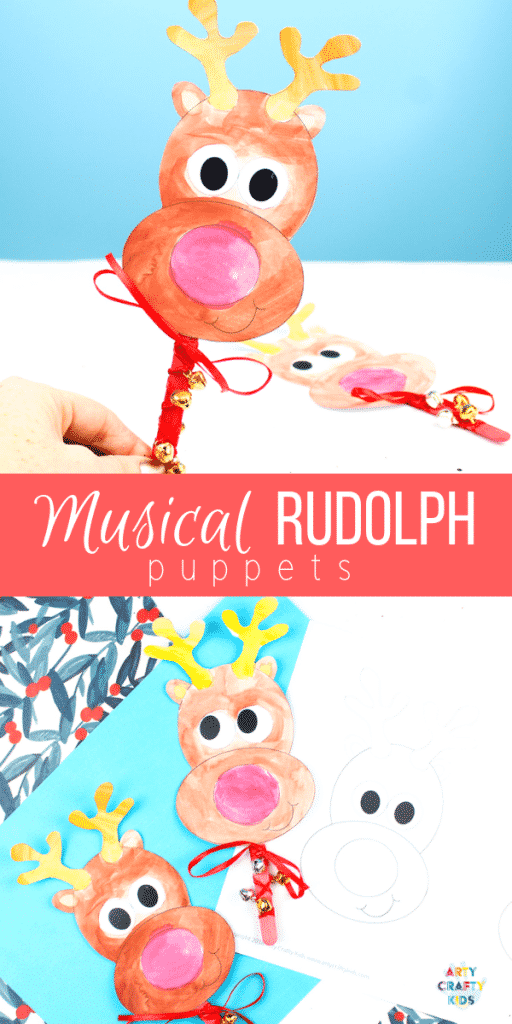 Arty Crafty Kids | Musical Rudolph Reindeer Puppets - Jingle all the way with these gorgeous Rudolph the Red Nosed Reindeer Puppets. A fun and interactive Christmas craft for kids!