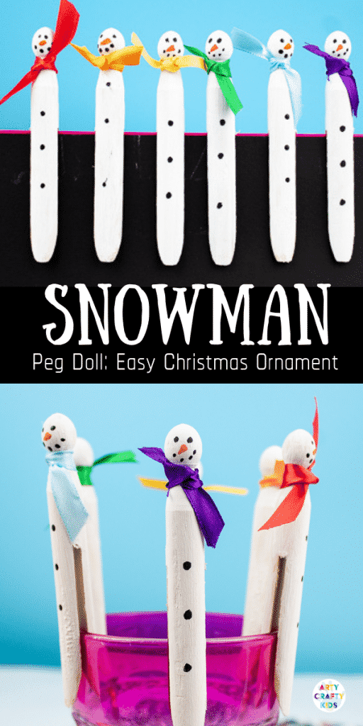 Arty Crafty Kids | Snowman Peg Ornament - an easy snowman christmas ornament for kids to make #christmascrafts #christmas #snowman #kidscrafts