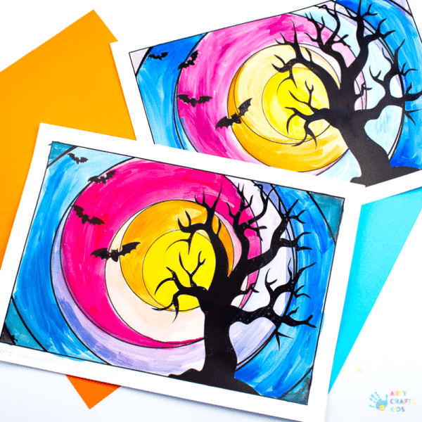 Arty Crafty Kids - Spooky Tree Circle Art for Halloween. Explore cool and warm shades with this simple template design. Perfect Art Project for kids exploring colour mixing and colour shades #artforkids #kidsart #halloween
