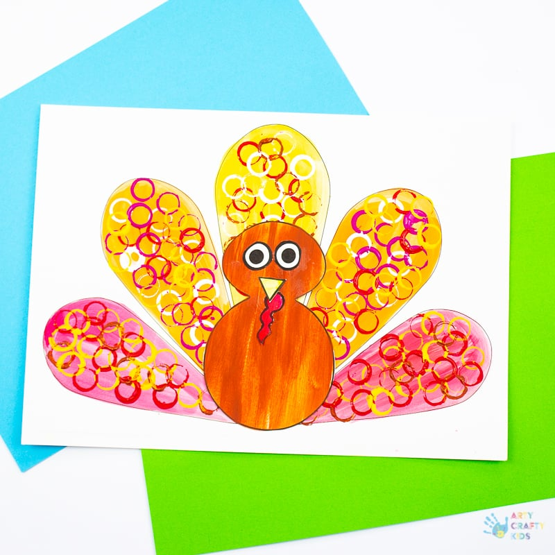 Arty Crafty Kids - Circle Print Button Turkey Craft for Kids - A fun and simple Thanksgiving craft for kids with a free template included!