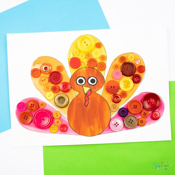 Arty Crafty Kids - Button Turkey Craft for Kids - A fun and simple Thanksgiving craft for kids with a free template included!