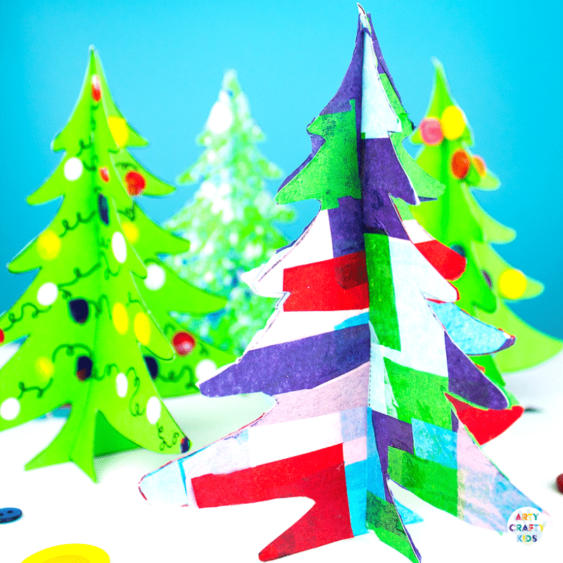 Arty Crafty Kids | 3D Printable Christmas Tree Craft - A fun paper Christmas tree craft for kids. Download, print and decorate with tissue paper, buttons and fingerprints! #printable #christmascraft #kidscrafts #christmas #papercraft #kids