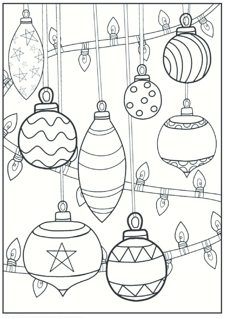 coloring pages christmas baubles hanging - photo#8