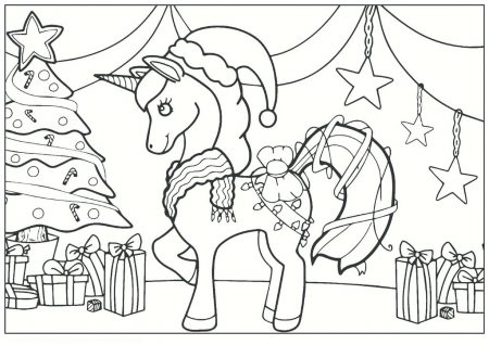 48 Coloring Pages Christmas Unicorn Pictures