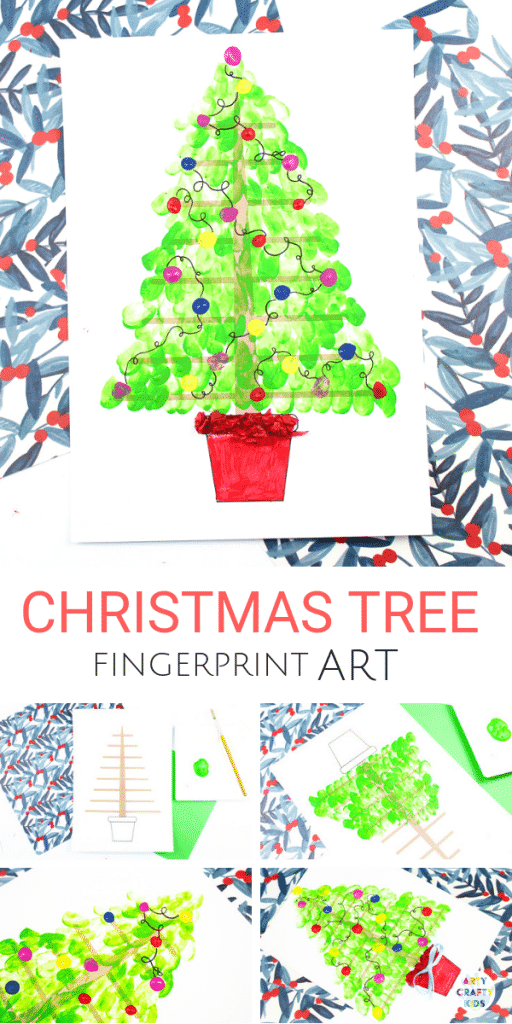 Arty Crafty Kids | Fingerprint Christmas Tree Art - A sweet keepsake for Christmas. Kids can apply their fingerprints to the Christmas Tree Printable to form a beautiful tree with a personal touch #christmas #christmascraft #kidscrafts #kidsart #printables #templates #paper #papercrafts