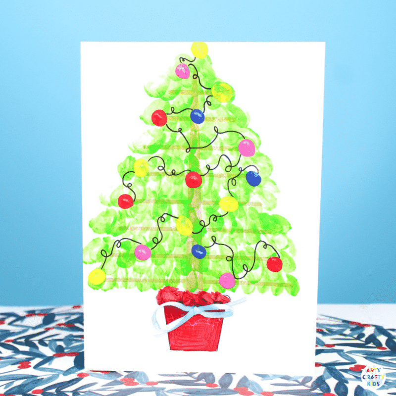 DIY Fingerprint Christmas Tree Card