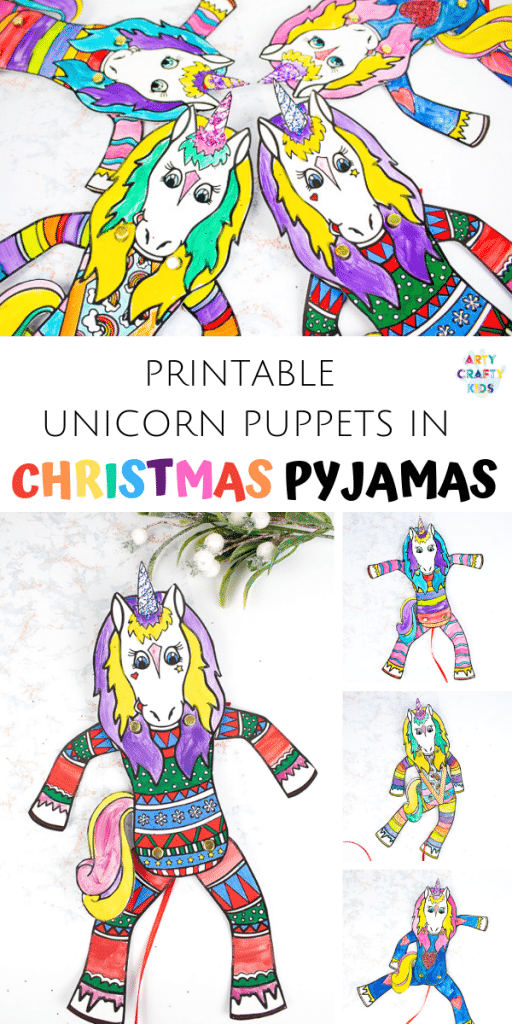 Arty Crafty Kids Printable Unicorn Puppets in Christmas Pyjamas - Have a crafty unicorn pyjama party with these cute printable unicorns! An engaging craft for kids with the option of a 'design your own' free template or three pre-made unicorn in pyjama templates! #unicorns #kidscrafts #craftsforkids #christmas #printable #christmascrafts