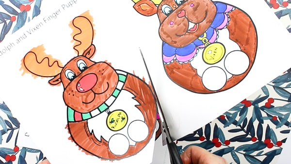 Arty Crafty Kids | Printable Reindeer Finger Puppets - Chose from Rudolf, Vixen, Dasher and Dancer to colour in, cut and play with! Adorable, hand drawn Christmas Reindeer finger puppets for kids #printable #christmas #christmascrafts #kidscrafts