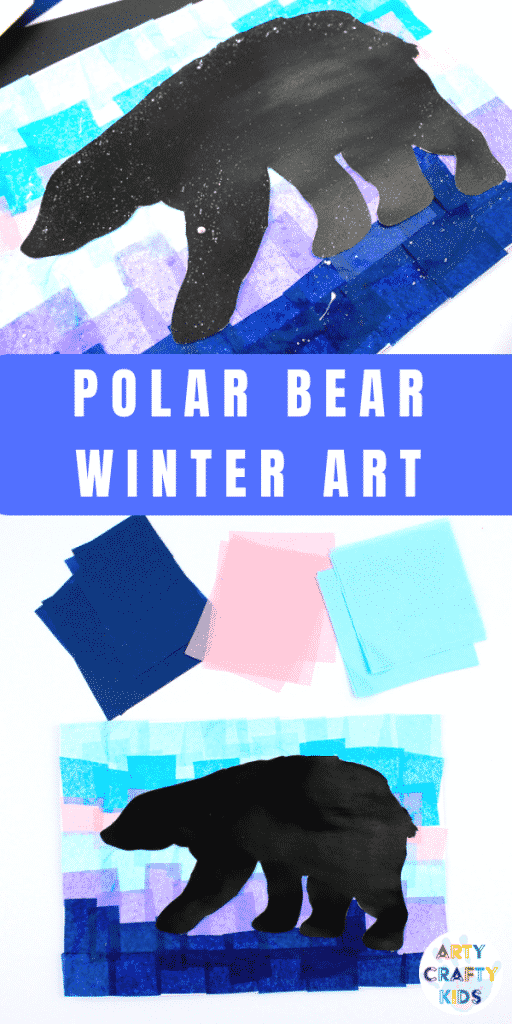 Arty Crafty Kids | Polar Bear Winter Art - Download and print the Polar Bear template and add it to a winter backdrop of tissue paper #winterart #artforkids #templates