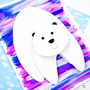Arty Crafty Kids | 3D Polar Bear Winter Craft for kids! Challenge creativity with this playful and fun Printable Polar Bear Craft that wobbles and bounces #kidscrafts #wintercrafts #printable #templates #template #preschoool #earlyyears