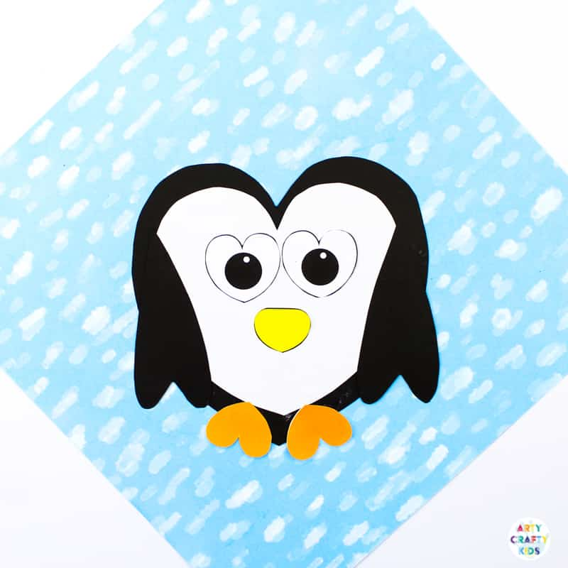 image about Penguin Patterns Printable identified as Penguin Center Craft Arty Cunning Youngsters