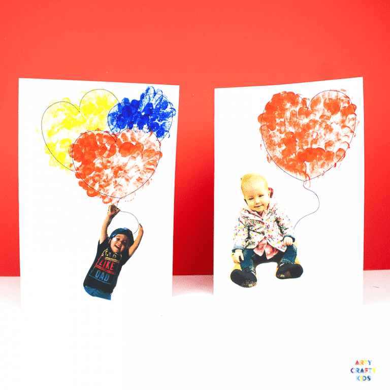 Arty Crafty Kids   Printable Valentines Heart Card - Inspired by Banksy's girl with the Balloon, this cute printable card can be personalised with your Arty Crafty Kids fingerprints and picture to make an adorable card for Valentine's Day, Mother's Day or even Father's Day #kidsart #valentines #printable #template #kids #kidscrafts