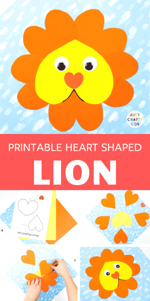 Arty Crafty Kids | Adorable Lion Heart Craft for Kids to create this Valentine's Day. Simply download the printable template to get started! #artycraftykids #kidscrafts #valentinesday #kidscrafts #printable #template
