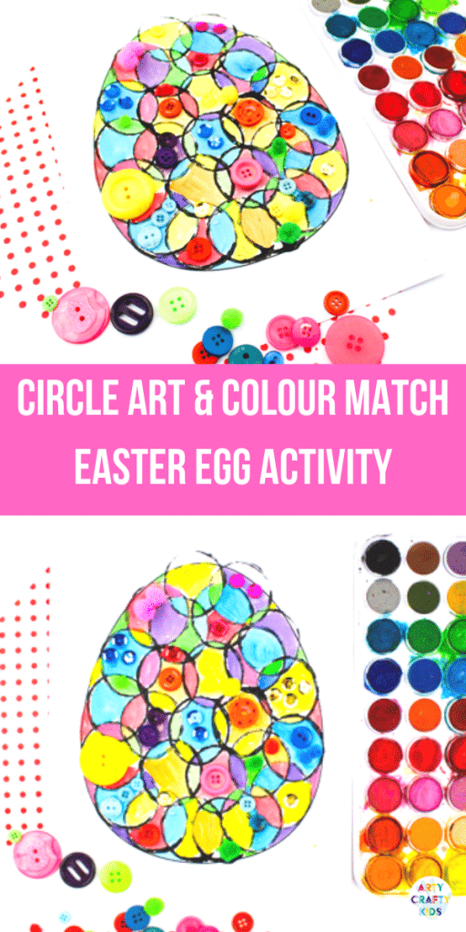 Arty Crafty Kids | Circle Art Easter Egg Activity for kids, with a Easter Egg Template to download. #artycraftykids #eastercrafts