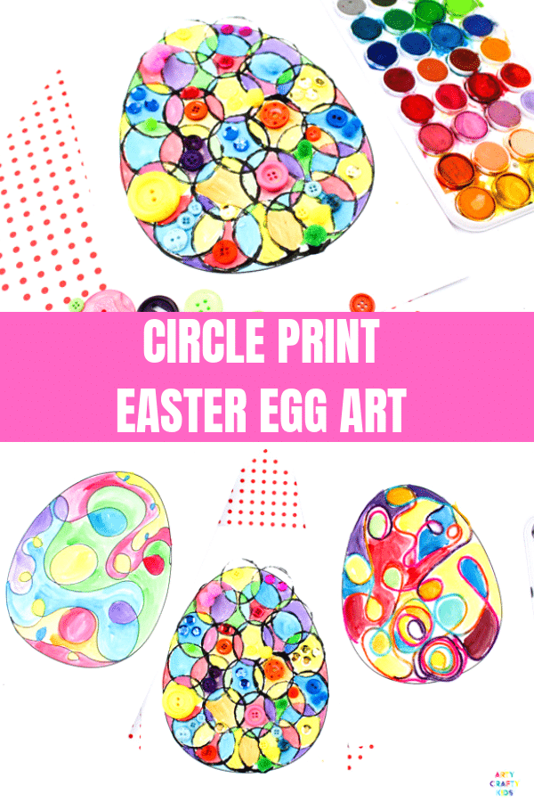Arty Crafty Kids | Circle Art Easter Egg Activity for kids, with a Easter Egg Template to download. #artycraftykids #easter